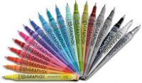 Akrylový fix LINE PAINTER (Derwent) - škála 20 odstínů | Barva01 - žlutá, Barva02 - žlutooranžová, Barva03 - oranžová, Barva04 - červená, Barva05 - krvavě červená, Barva06 - růžová, Barva07 - fialová, Barva08 - modrá, Barva09 - světlá modrá, Barva10 - tmavá modrá, Barva11 - tyrkysová, Barva12 - mentolová, Barva13 - zelená, Barva14 - kaki zelená, Barva15 - červenohnědá, Barva16 - šedá, Barva17 - grafitová, Barva18 - černá, Barva19 - sněžná, Barva20 - stříbřitá