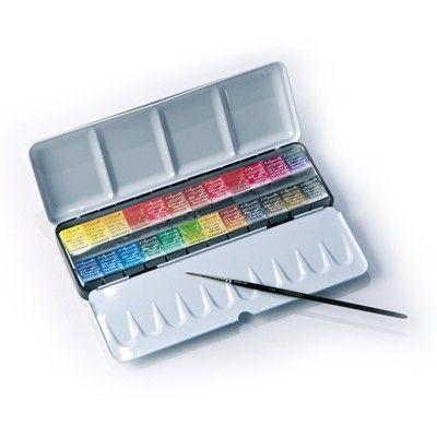 Mistrovské akvarelové barvy l'Aquarelle - Sennelier v půl-pánvičkách v sadě, 24 odstínů