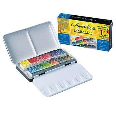 Mistrovské akvarelové barvy l'Aquarelle - Sennelier v půl-pánvičkách v sadě, 12 odstínů