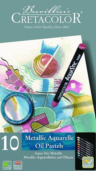 Olejové pastely Aqua Stic - Metalické odstíny 10 ks