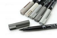 Sada Koi Coloring Brush Pen - šedé tóny - 6ks