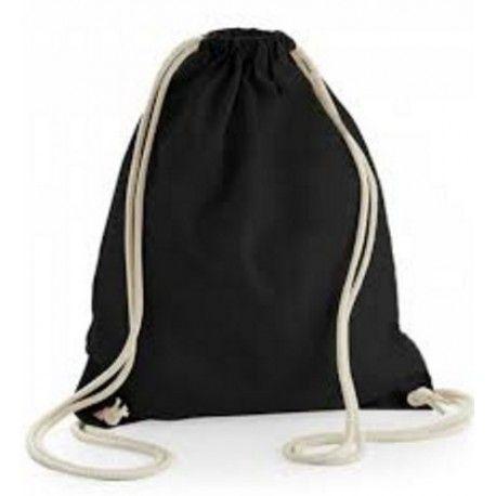 Plátěný batoh se stahovacími šňůrkami 38x42cm černý