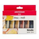 Sada akrylových barev Amsterdam - metalické odstíny 6x20ml