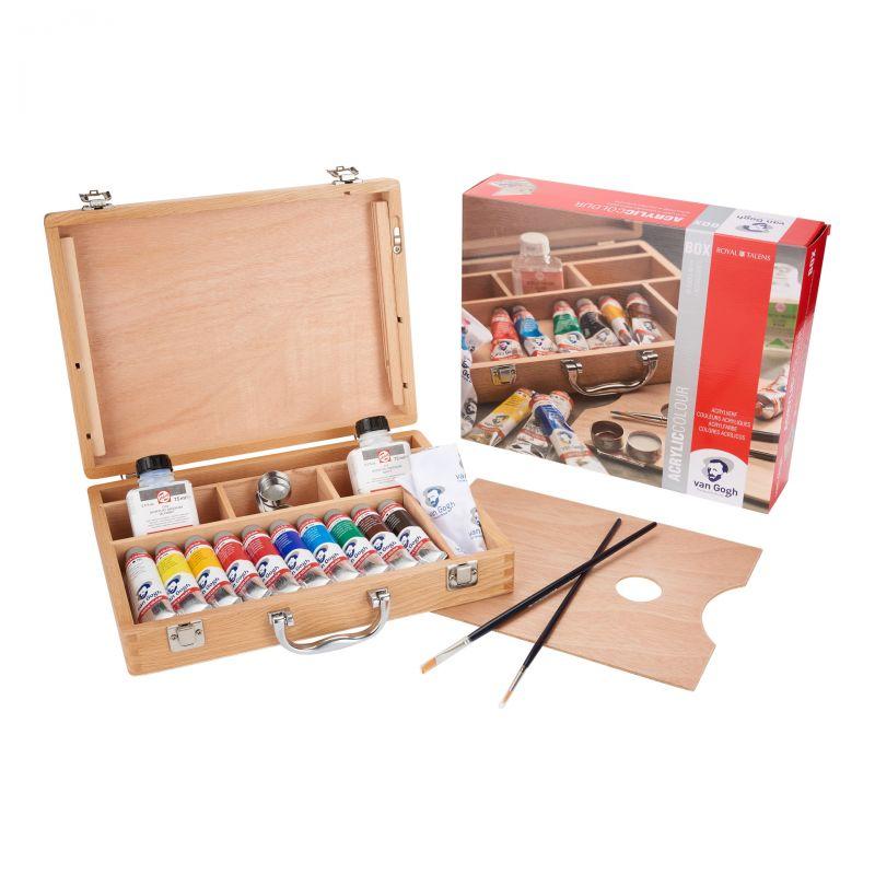 Sada akrylových barev v dřevěném kufříku