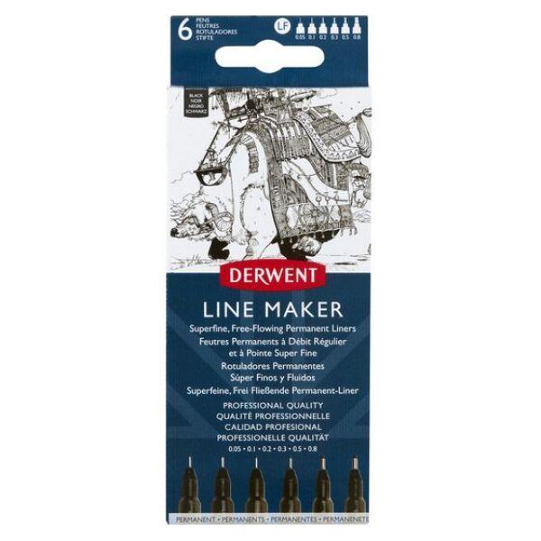 Sada uměleckých a technických popisovačů Line Marker (Derwent) - černý 0,05/0.1/0,2/0.3/0.5/