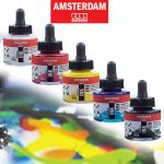 Inkoust akryl Amsterdam 30ml  | 105 Titanium White, 223 Naples Yellow Deep, 227 Yellow Ochre, 234 Raw Sienna, 256 Reflex Yellow, 257 Reflex Orange, 267 Azo Yellow Lemon, 270 Azo Yellow Deep, 275 Primary Yellow, 276 Azo Orange, 292 Naples Yelow Red LT, 311 Vermillion, 315 Pyrrole Red, 318 Carmine, 361 Light Rose, 366 Quinarose, 369 Primary Magenta, 384 Reflex Rise, 385 Quinarose Light, 399 Naphtol Red Deep, 409 Burnt Umber, 411 Burnt Sienna, 504 Ultramarine, 507 Ultramarin Violet, 517 Kings Blue, 522 Turquise Blue, 551 Sky Blue Light, 562 Greyish Blue, 564 Brilliant Blue, 570 Phthalo Blue, 572 Primary Cyan, 577 Permanent Red Violet Light, 615 Emerald Green, 617 Ylwish Green, 618 Perm. Green Light, 619 Perm. Green Deep, 621 Olive Green Light, 622 Olive Green Deep, 661 Turquise Green, 672 Reflex Green, 710 Neutral Grey, 718 Warm Grey, 735 Oxide Black, 800 Silver, 802 Light Gold, 803 Deep Gold, 805 Copper, 811 Bronze, 815 Pewter, 817 Pearl White, 818 Pearl Yellow, 819 Pearl Red, 820 Pearl Blue, 821 Pearl Violet, 822 Pearl Green, 840 Graphite